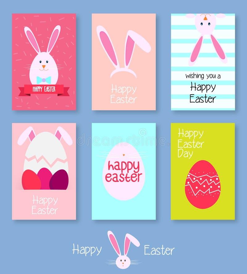 Χαριτωμένο σύνολο καρτών Πάσχας ελεύθερη απεικόνιση δικαιώματος