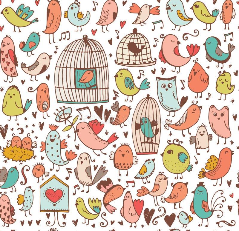 χαριτωμένο σύνολο πουλιώ ελεύθερη απεικόνιση δικαιώματος