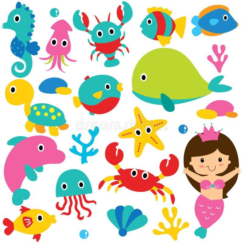 Χαριτωμένο σύνολο τέχνης συνδετήρων ζώων θάλασσας απεικόνιση αποθεμάτων
