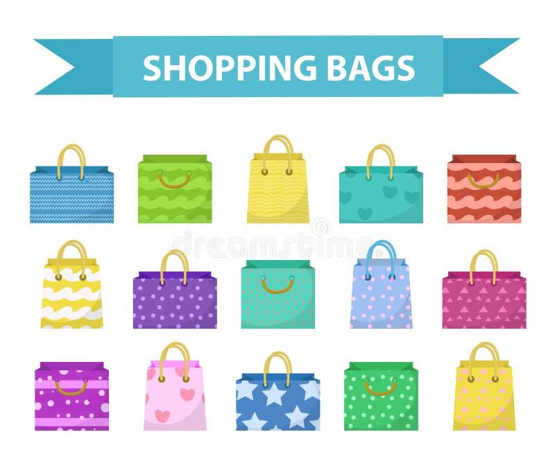 Χαριτωμένο σύνολο τσαντών αγορών Ζωηρόχρωμες τσάντες με τη διαφορετική συλλογή σχεδίων Επίπεδο ύφος Έγγραφο για ένα λευκό ελεύθερη απεικόνιση δικαιώματος