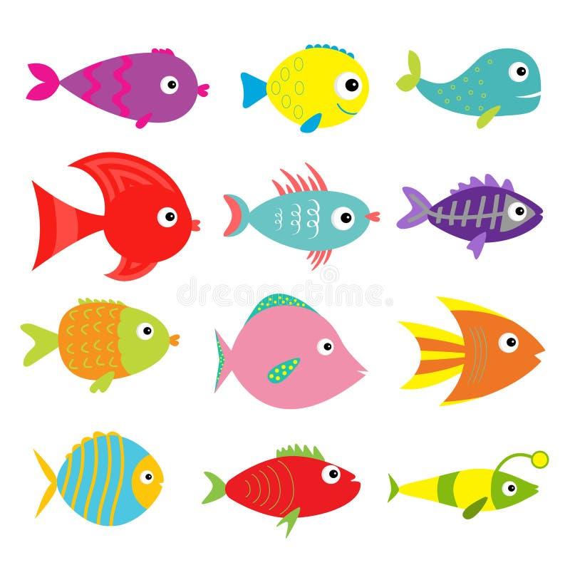 Χαριτωμένο σύνολο ψαριών κινούμενων σχεδίων απομονωμένος Συλλογή παιδιών μωρών Άσπρη ανασκόπηση Επίπεδο σχέδιο διανυσματική απεικόνιση