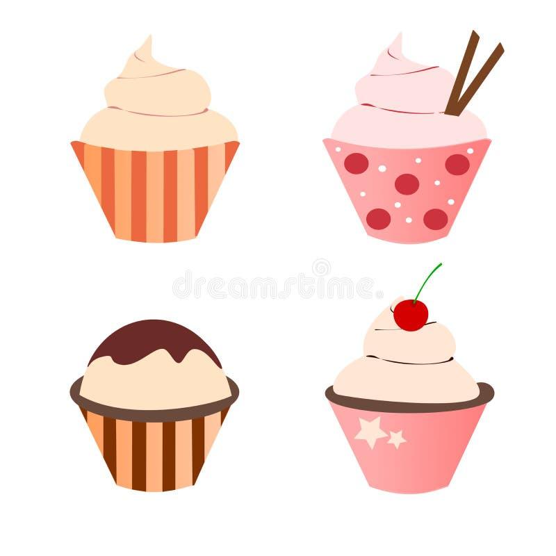Χαριτωμένο σύνολο Cupcake στοκ εικόνες
