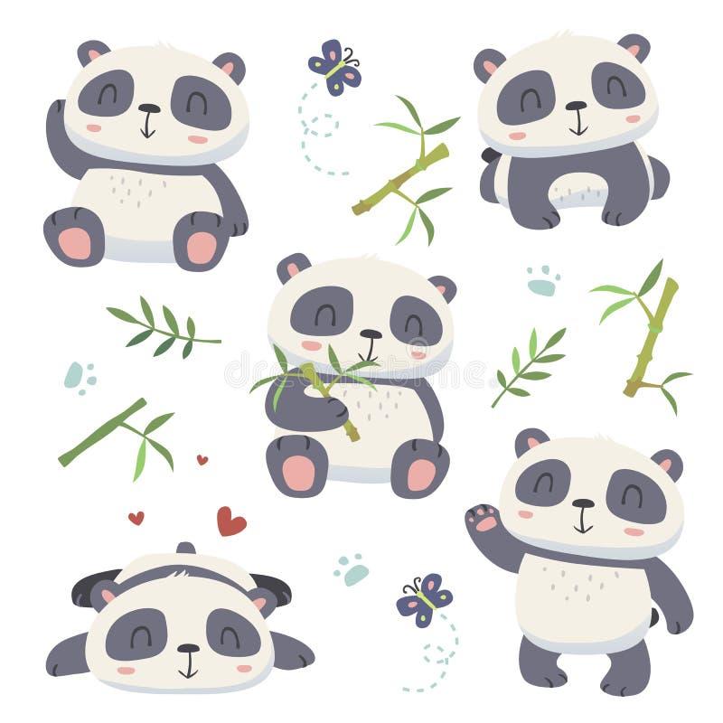 χαριτωμένο σύνολο panda ύφους κινούμενων σχεδίων διανυσματική απεικόνιση