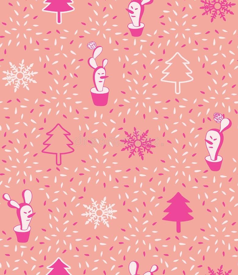 Χαριτωμένο τολμηρό ρόδινο σύγχρονο ελάχιστο Χριστουγέννων κάκτων υπόβαθρο σχεδίων χιονανθρώπων διανυσματικό άνευ ραφής ελεύθερη απεικόνιση δικαιώματος