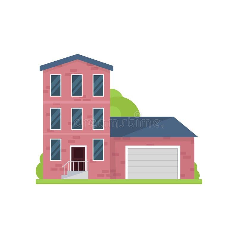 Χαριτωμένο τούβλινο σπίτι με τρία πατώματα και γκαράζ απεικόνιση αποθεμάτων