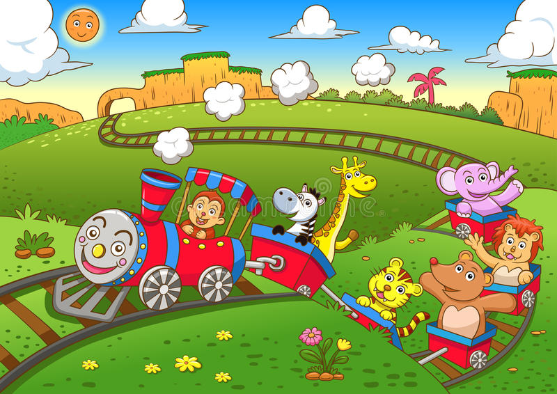 Χαριτωμένο τραίνο ζώων ελεύθερη απεικόνιση δικαιώματος