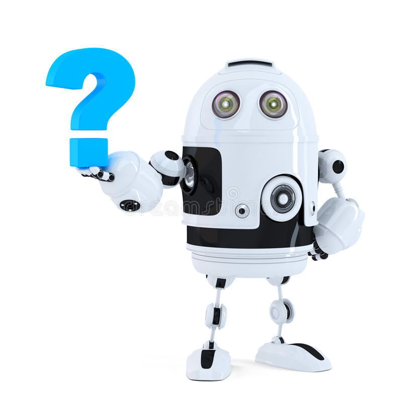 Χαριτωμένο τρισδιάστατο ρομπότ με το ερωτηματικό απομονωμένος Περιέχει το μονοπάτι ψαλιδίσματος διανυσματική απεικόνιση