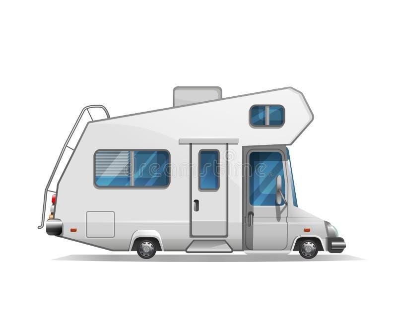 Χαριτωμένο τυποποιημένο αναδρομικό φορτηγό τροχόσπιτων ταξιδιού που απομονώνεται στο άσπρο υπόβαθρο διανυσματική απεικόνιση
