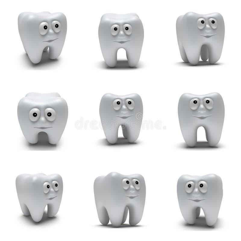 Χαριτωμένο υγιές δόντι με το αστείο σύνολο προσώπου διανυσματική απεικόνιση