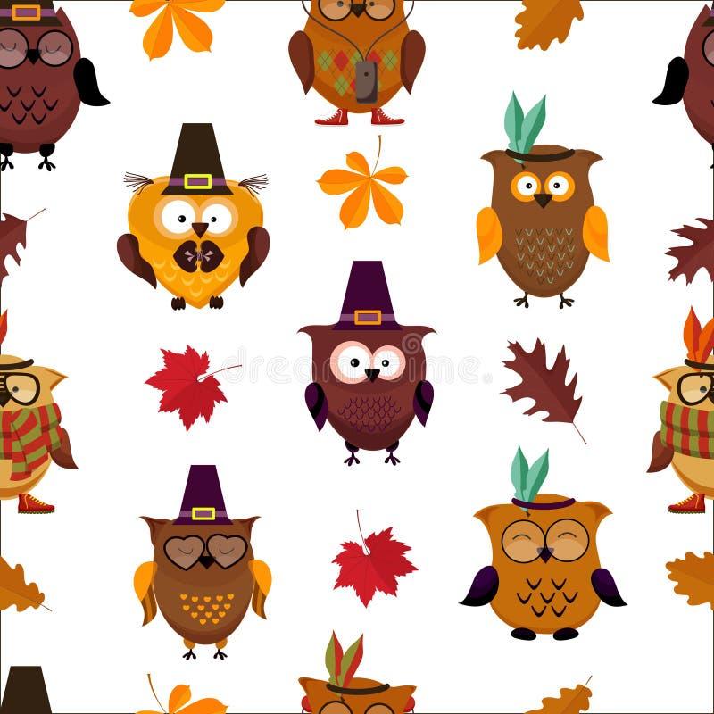 Χαριτωμένο υπόβαθρο κουκουβαγιών ημέρας των ευχαριστιών ελεύθερη απεικόνιση δικαιώματος