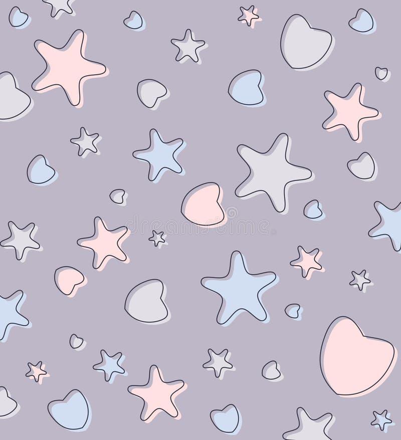 Χαριτωμένο υπόβαθρο κρητιδογραφιών με τις καρδιές και τα αστέρια διανυσματική απεικόνιση