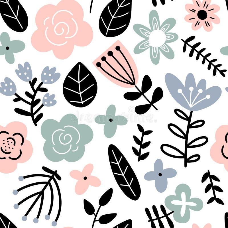 Χαριτωμένο υπόβαθρο με τα αφηρημένα λουλούδια απεικόνιση αποθεμάτων