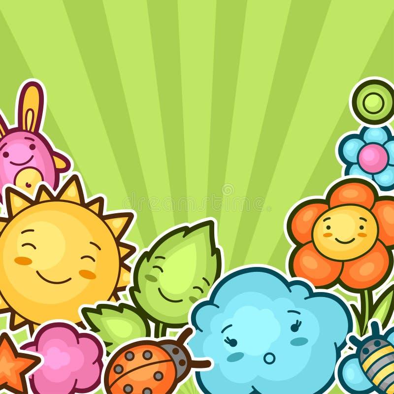 Χαριτωμένο υπόβαθρο παιδιών με το kawaii doodles Συλλογή άνοιξη του εύθυμου ήλιου χαρακτηρών κινουμένων σχεδίων, σύννεφο, λουλούδ ελεύθερη απεικόνιση δικαιώματος