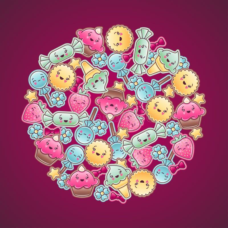 Χαριτωμένο υπόβαθρο παιδιών με το kawaii doodles απεικόνιση αποθεμάτων