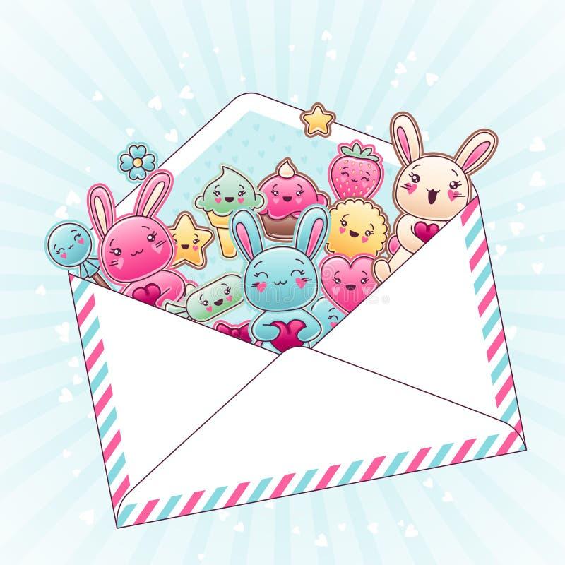 Χαριτωμένο υπόβαθρο παιδιών με το kawaii doodles διανυσματική απεικόνιση