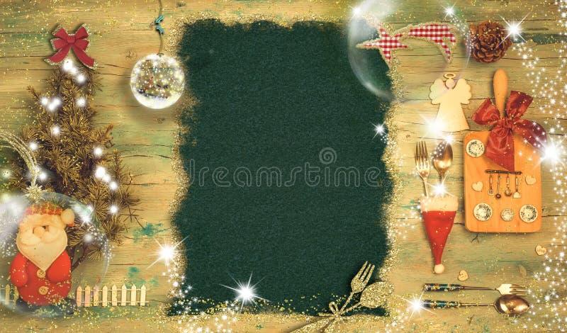 Χαριτωμένο υπόβαθρο πρόσκλησης για τα Χριστούγεννα ή τις νέες επιλογές γευμάτων έτους στοκ εικόνα