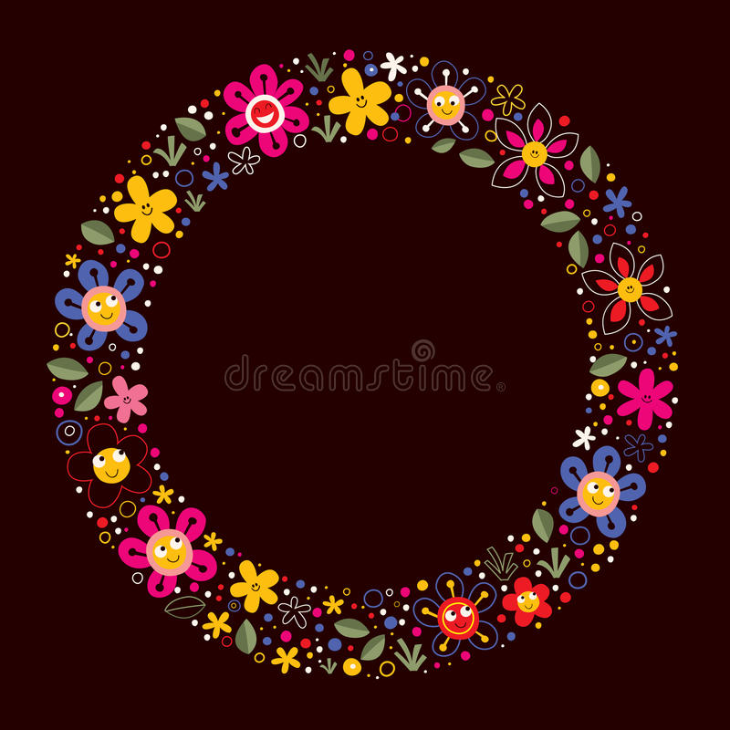 Χαριτωμένο υπόβαθρο πλαισίων κύκλων κινούμενων σχεδίων φύσης λουλουδιών απεικόνιση αποθεμάτων