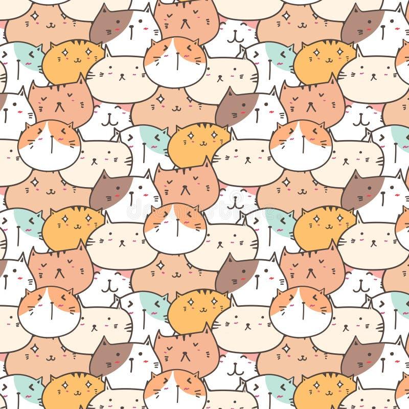 Χαριτωμένο υπόβαθρο σχεδίων γατών διανυσματικό Διασκέδαση Doodle διανυσματική απεικόνιση