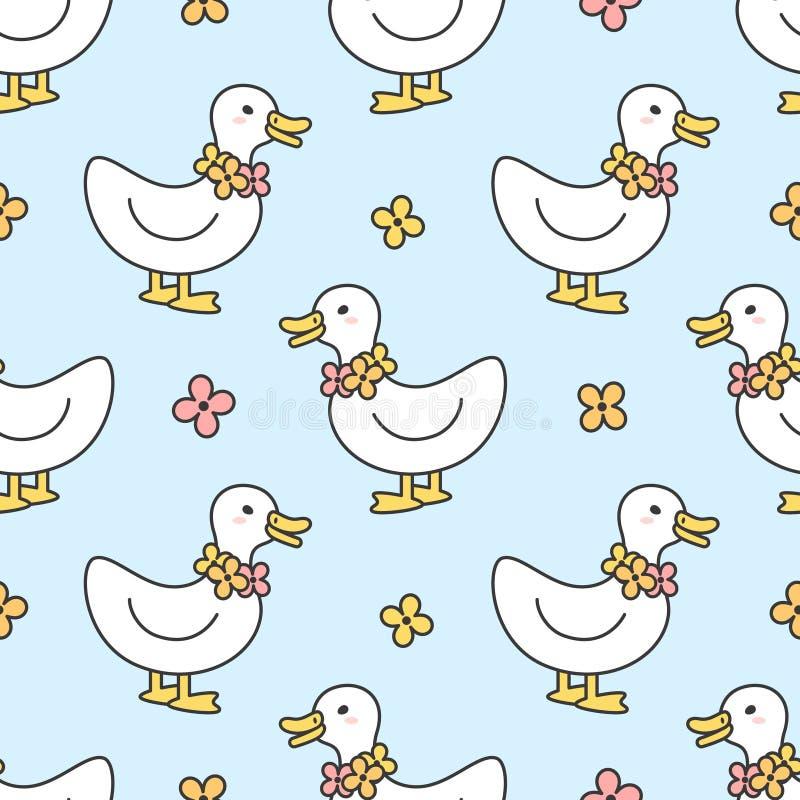Χαριτωμένο υπόβαθρο σχεδίων παπιών και περιδεραίων λουλουδιών άνευ ρ στοκ εικόνα με δικαίωμα ελεύθερης χρήσης