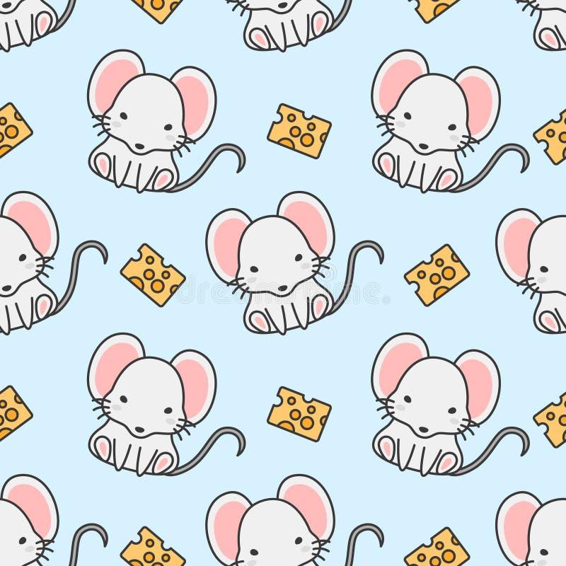 Χαριτωμένο υπόβαθρο σχεδίων ποντικιών και τυριών άνευ ραφής απεικόνιση αποθεμάτων