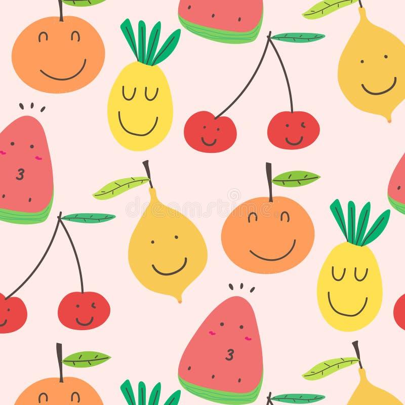 Χαριτωμένο υπόβαθρο σχεδίων φρούτων διανυσματική απεικόνιση