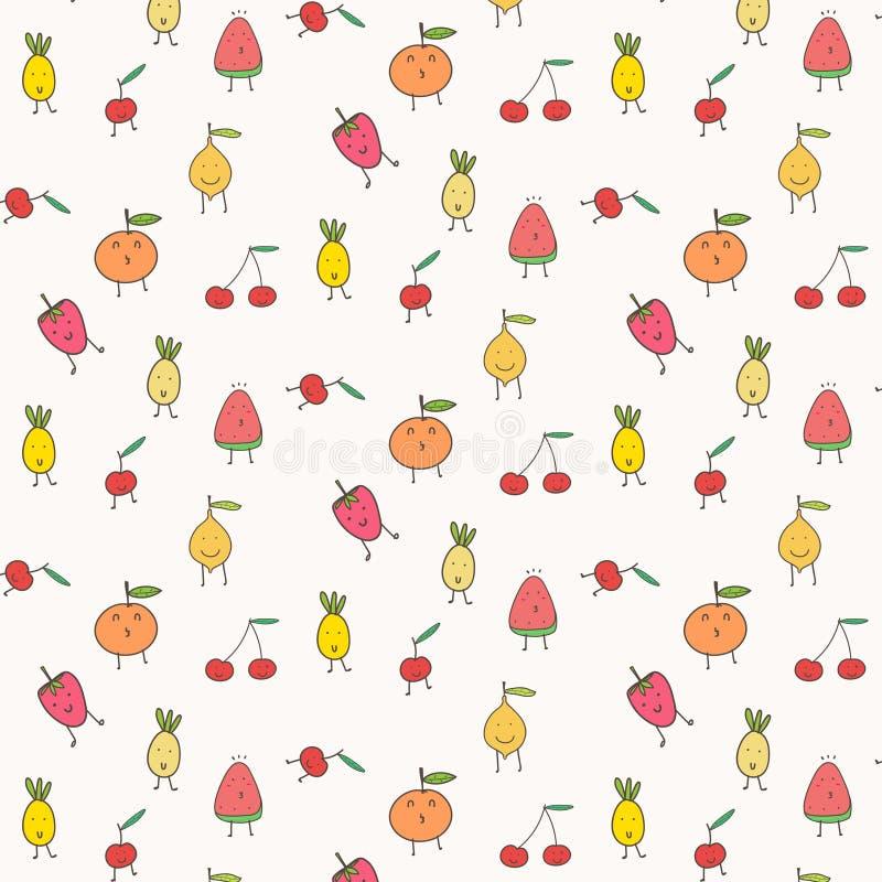 Χαριτωμένο υπόβαθρο σχεδίων φρούτων απεικόνιση αποθεμάτων