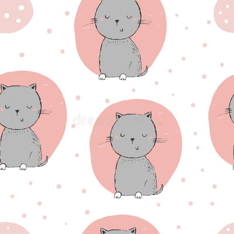 Χαριτωμένο υπόβαθρο σχεδίων γατών άνευ ραφής διανυσματική απεικόνιση