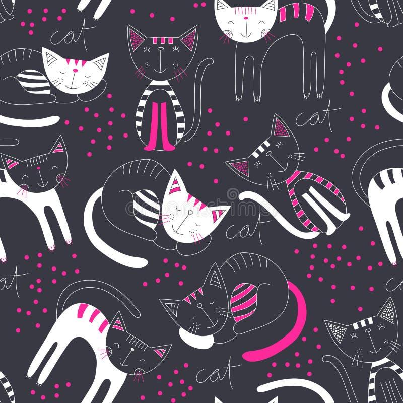 Χαριτωμένο υπόβαθρο σχεδίων γατών ζωηρόχρωμο άνευ ραφής Σχέδιο ταπετσαριών παιδιών Συρμένο χέρι σκηνικό μόδας Χαριτωμένο και ζώο  ελεύθερη απεικόνιση δικαιώματος