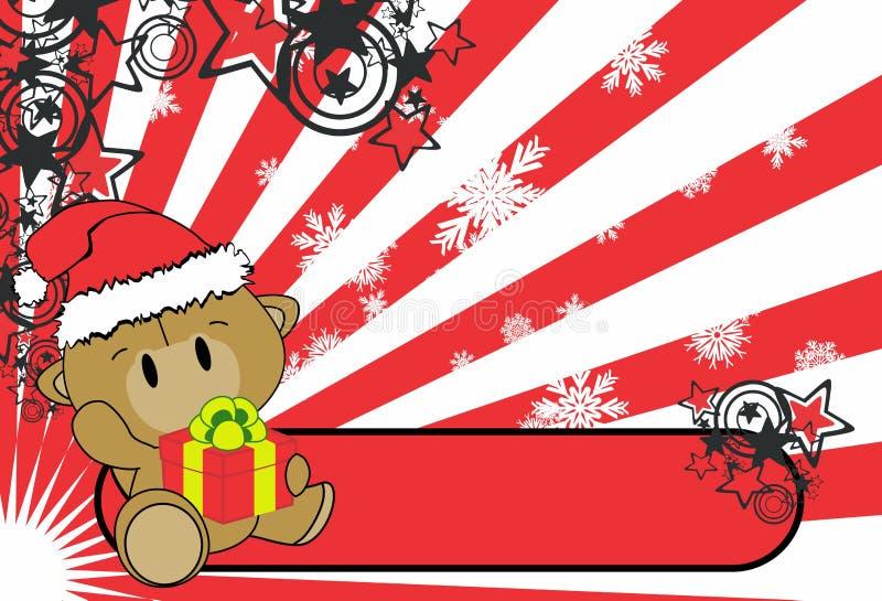Χαριτωμένο υπόβαθρο Χριστουγέννων κιβωτίων δώρων εκμετάλλευσης κινούμενων σχεδίων καμηλών μωρών διανυσματική απεικόνιση