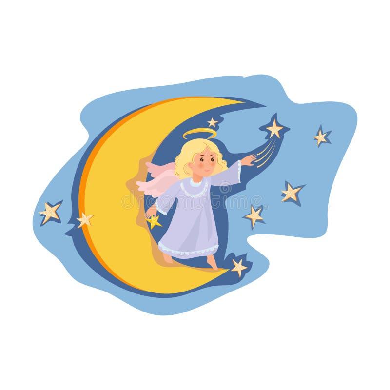 Χαριτωμένο φεγγάρι παραμονής κοριτσιών αγγέλου τη νύχτα, αστέρια κίνησης ελεύθερη απεικόνιση δικαιώματος