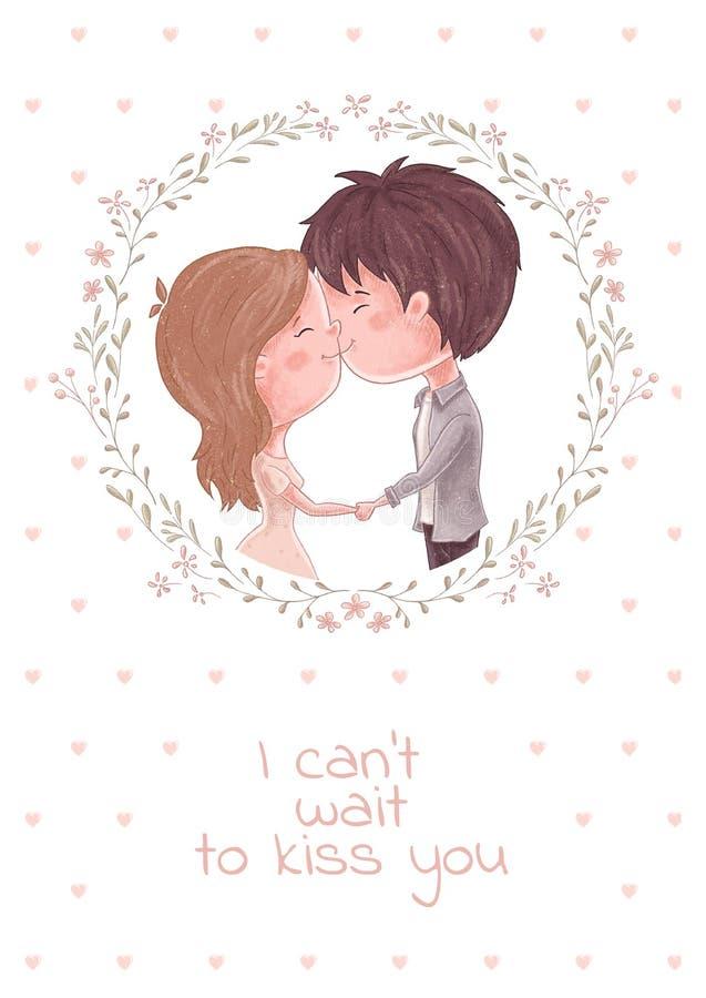 Χαριτωμένο φιλί ζευγών διανυσματική απεικόνιση