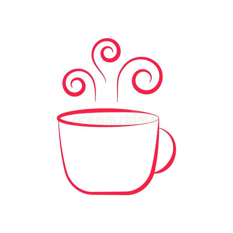 Χαριτωμένο φλυτζάνι με το καυτό τσάι ή καφές που σύρεται στο μινιμαλισμό στοκ εικόνα