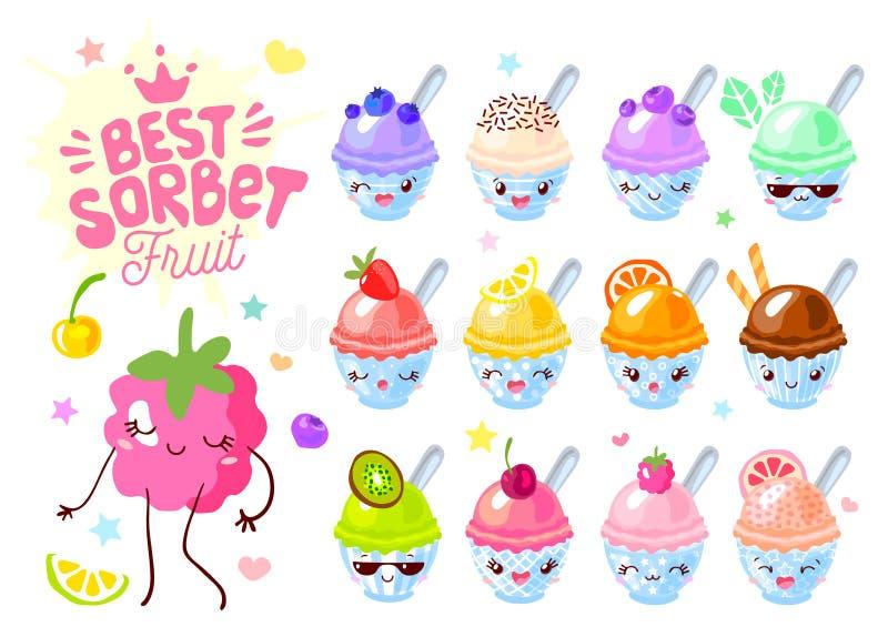 Χαριτωμένο φρούτων παγωτού ξυρισμένο sorbet πάγου σύνολο χαρακτήρων φλυτζανιών αστείο Ευτυχής συλλογή ύφους παιδιών προσώπου κινο απεικόνιση αποθεμάτων