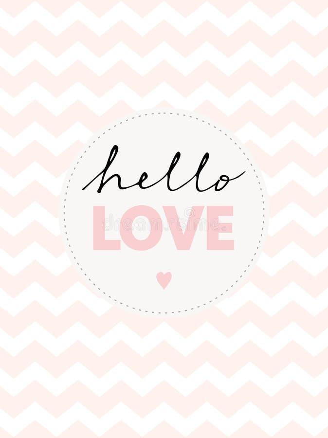 Χαριτωμένο χέρι γραπτό γειά σου την αγάπη τη διανυσματική απεικόνιση διανυσματική απεικόνιση