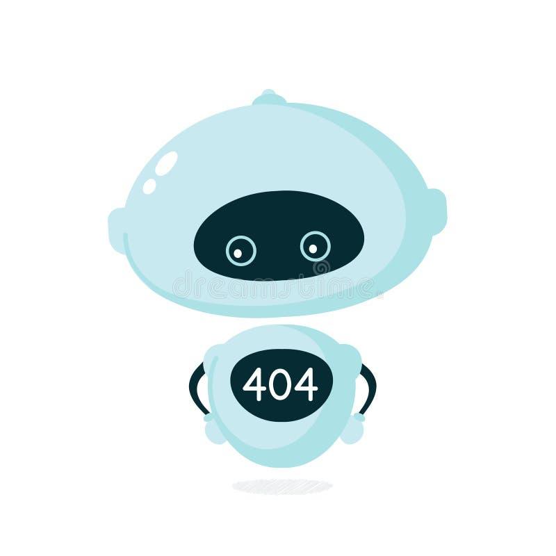 Χαριτωμένο χαμογελαστό ρομπότ, bot με σφάλμα 404 ελεύθερη απεικόνιση δικαιώματος