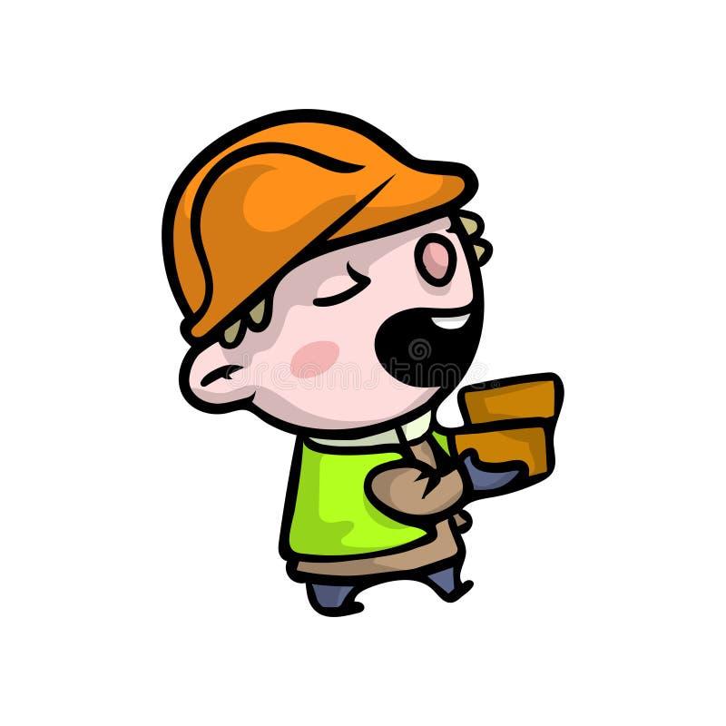 Χαριτωμένο χαμογελώντας αγόρι στα ενδύματα οικοδόμων με το πορτοκαλί κράνος απεικόνιση αποθεμάτων