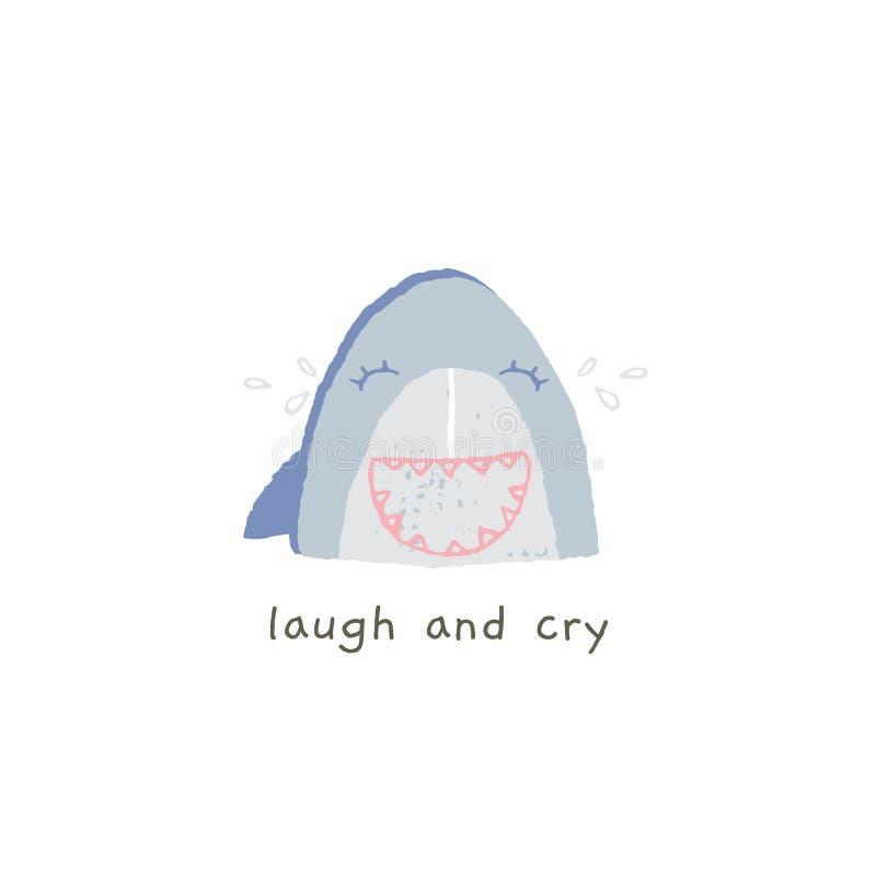 Χαριτωμένο χαμόγελο καρχαριών με τις συγκινήσεις Γέλιο και κραυγή Διανυσματικό συρμένο χέρι emoji απεικόνιση αποθεμάτων