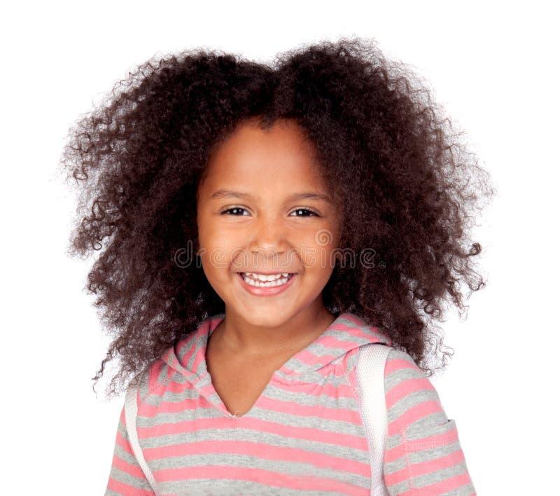 Χαριτωμένο χαμόγελο κοριτσιών αφροαμερικάνων που απομονώνεται στοκ φωτογραφία