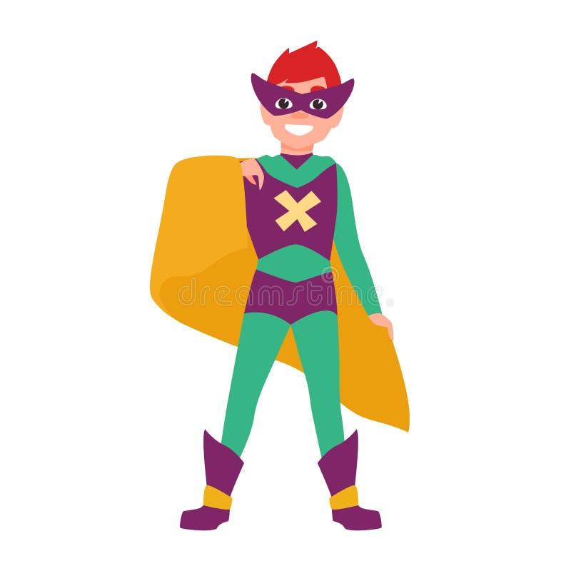 Χαριτωμένο χαμόγελο superboy ή superchild Ευτυχές αγόρι που φορά τη μάσκα, το κομπινεζόν και το ακρωτήριο που στέκονται στην ισχυ ελεύθερη απεικόνιση δικαιώματος