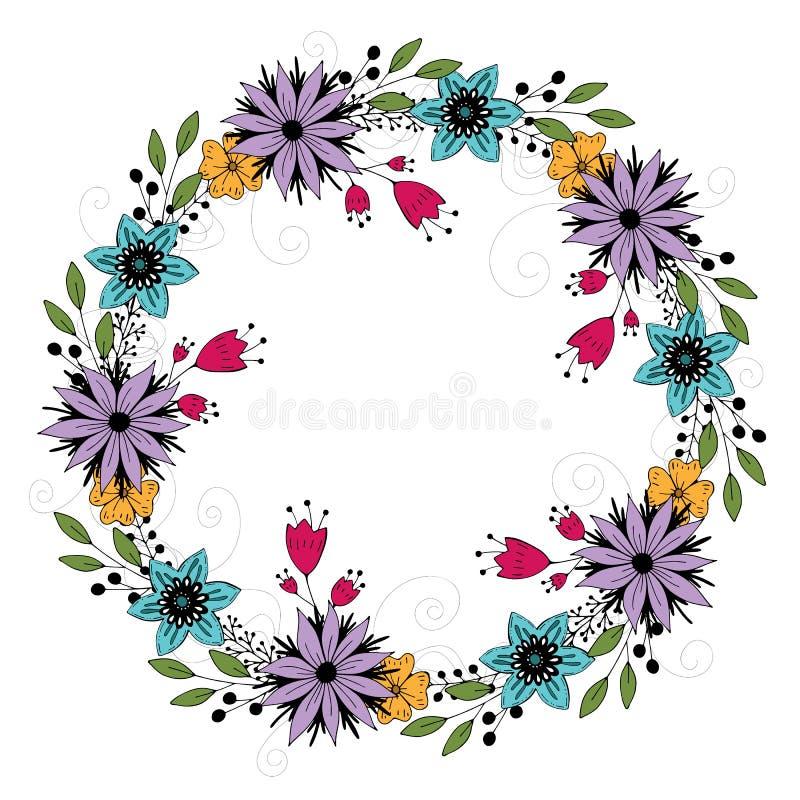 Χαριτωμένο χρωματισμένο κινούμενα σχέδια στεφάνι λουλουδιών ρομαντικό πλαίσιο r διανυσματική απεικόνιση