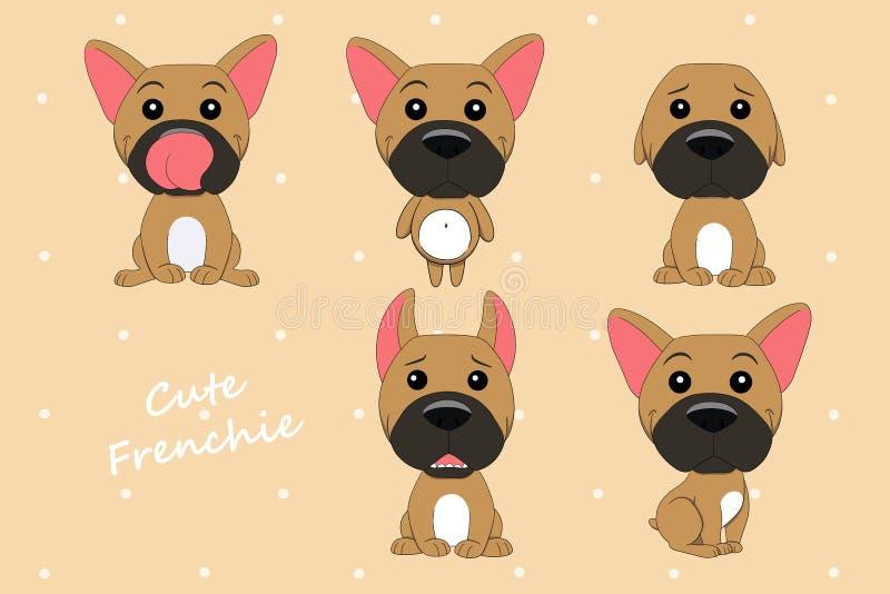 Χαριτωμένο χρώμα μπουλντόγκ σκυλιών γαλλικό fawn διανυσματική απεικόνιση