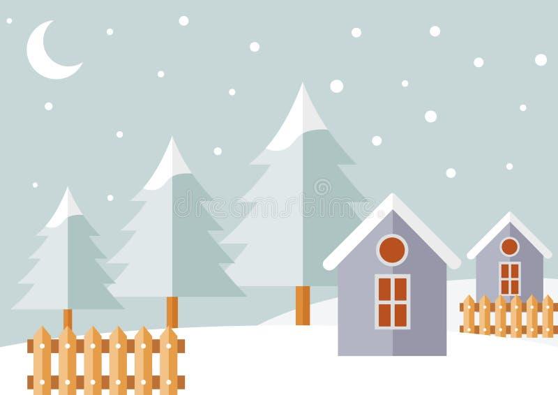 Χαριτωμένο χωριό Χριστουγέννων με το χιονώδες τοπίο διανυσματική απεικόνιση