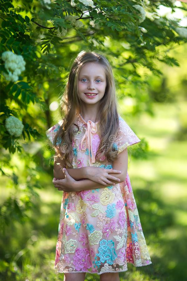 Χαριτωμένο όμορφο γελώντας κορίτσι με τα μπλε μάτια με μακρυμάλλη σε ένα υπόβαθρο ενός ανθίζοντας δέντρου στο πάρκο στοκ εικόνα με δικαίωμα ελεύθερης χρήσης