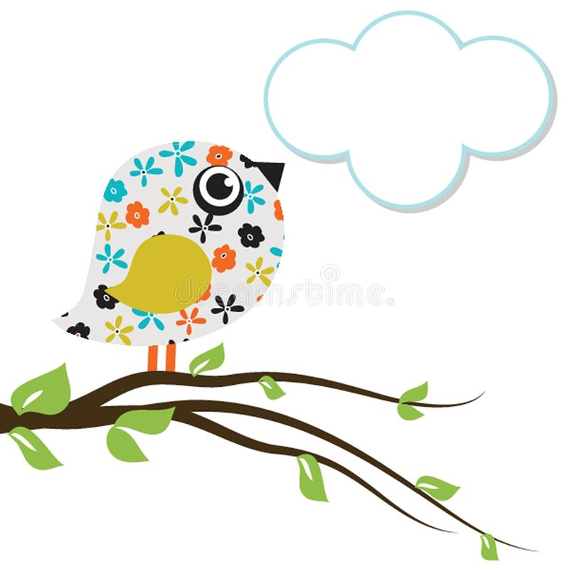 Χαριτωμένο όμορφο πουλί για το σχέδιό σας watercolor απεικόνιση αποθεμάτων