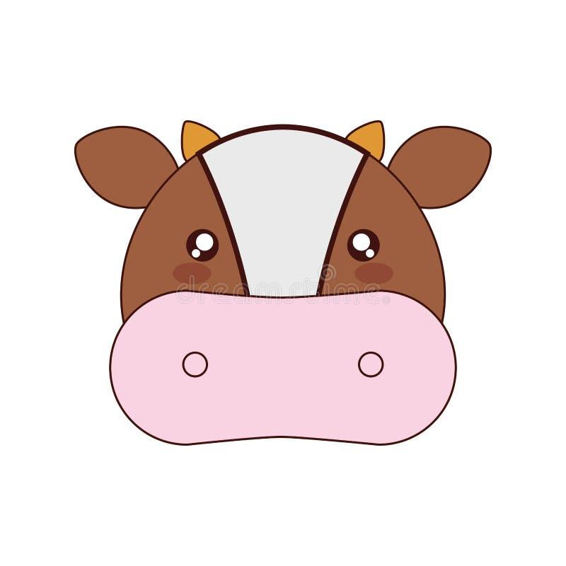 Χαριτωμένο ύφος kawaii αγελάδων απεικόνιση αποθεμάτων