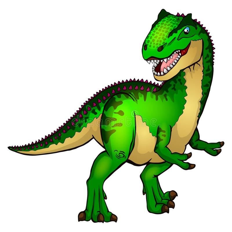 Χαριτωμένο allosaurus κινούμενων σχεδίων Απομονωμένη απεικόνιση ενός δεινοσαύρου κινούμενων σχεδίων διανυσματική απεικόνιση