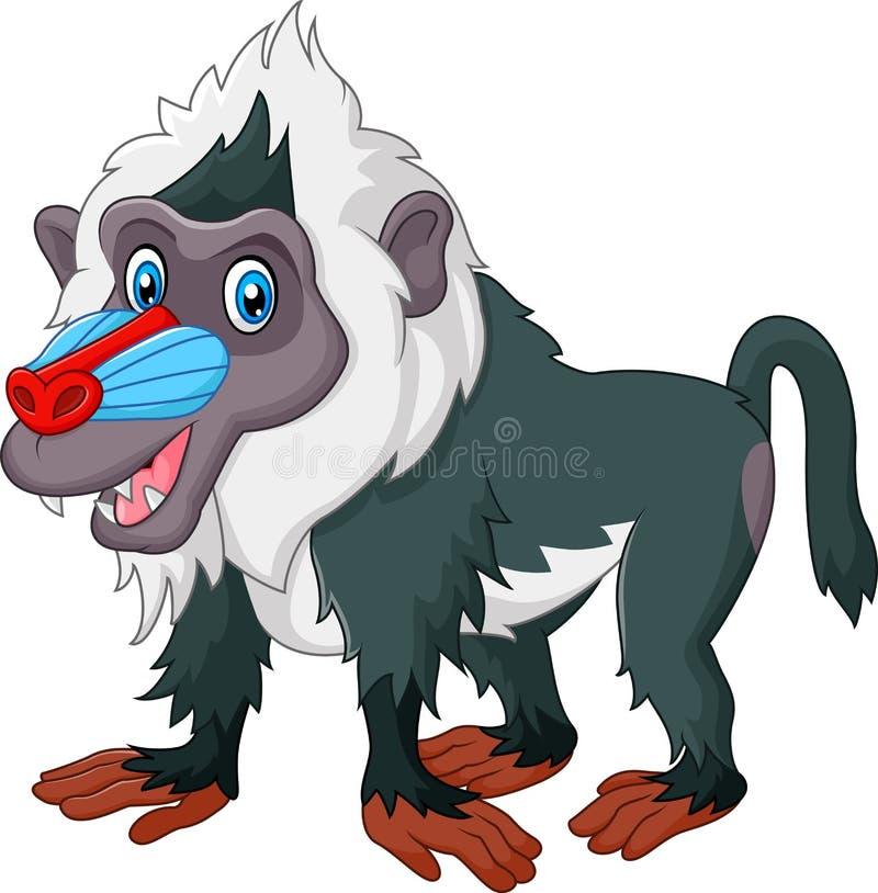 Χαριτωμένο baboon που απομονώνεται στο άσπρο υπόβαθρο απεικόνιση αποθεμάτων