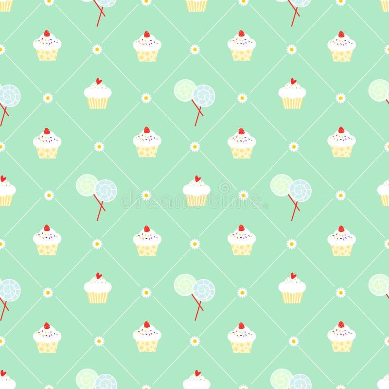Χαριτωμένο cupcake και lollipop άνευ ραφής διάνυσμα σχεδίων απεικόνιση αποθεμάτων