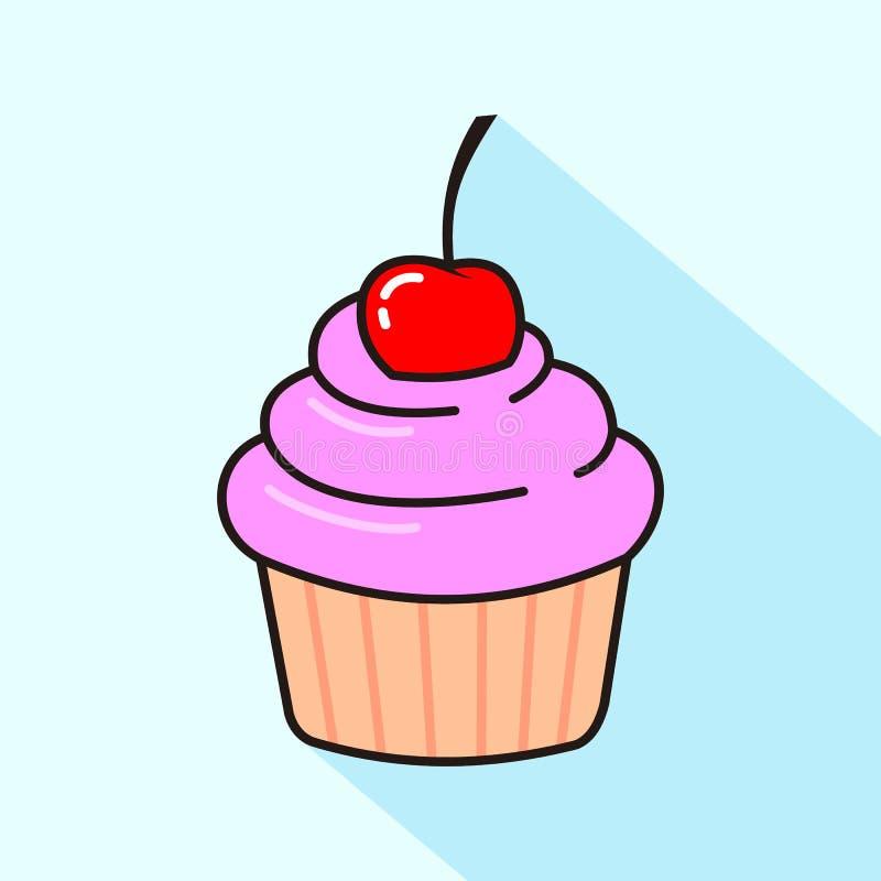 Χαριτωμένο cupcake με το ρόδινο πάγωμα ελεύθερη απεικόνιση δικαιώματος
