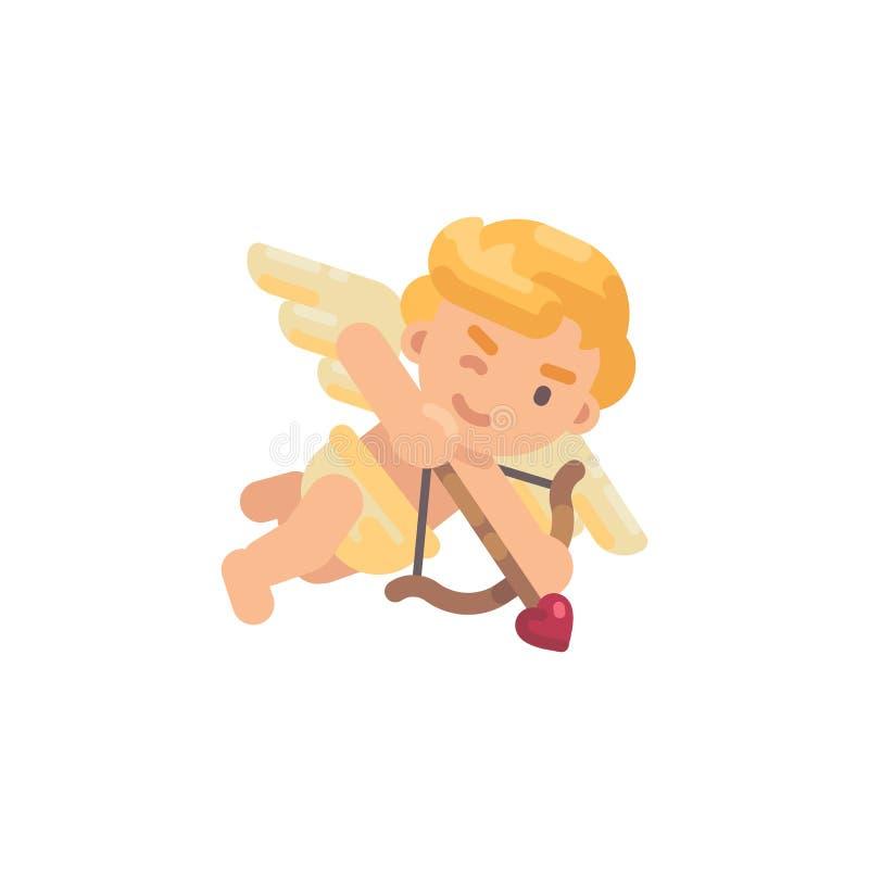 Χαριτωμένο cupid που πυροβολεί το τόξο του Επίπεδο εικονίδιο χαρακτήρα ημέρας βαλεντίνων ελεύθερη απεικόνιση δικαιώματος
